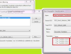 Parâmetros de transformação de coordenadas ArcGIS