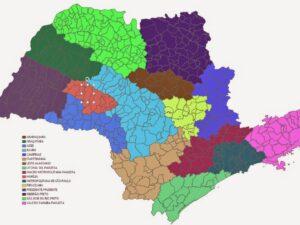 Municípios coloridos de acordo com cada Mesorregião Brasileiras - Um slide por estado (PPTX)