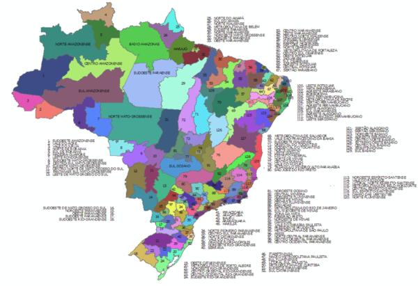 Mesorregiões Brasileiras - Objetos Editáveis em PowerPoint