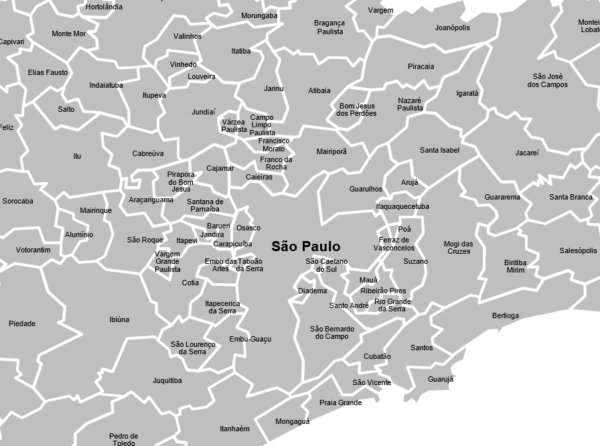 Municípios de São Paulo como objetos editáveis