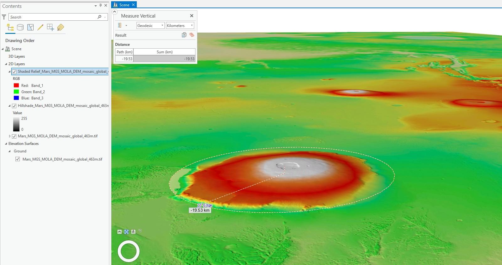 Marte em 3D no ArcGIS PRO