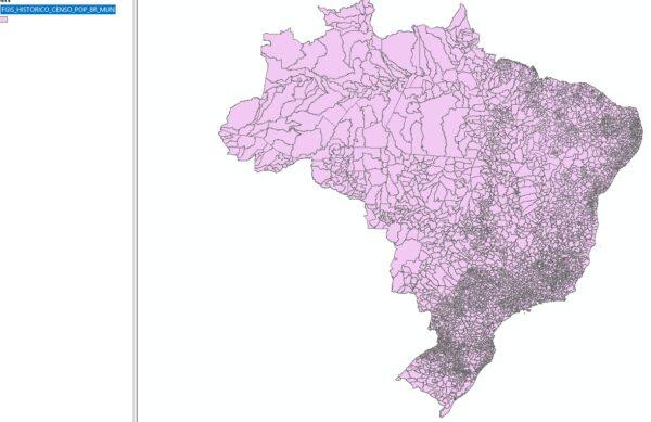 Shapefile - Dados espacializados de população por município (Censos)