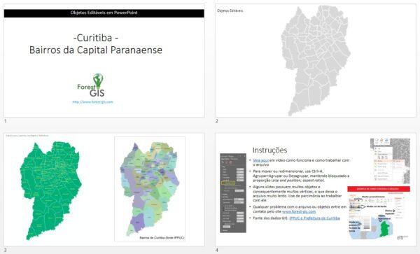 Mapa com os Bairros de Curitiba, PR.