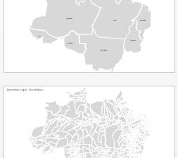 AMAZÔNIA LEGAL: Mapa editável da Amazônia legal, estados e municípios que a compõe