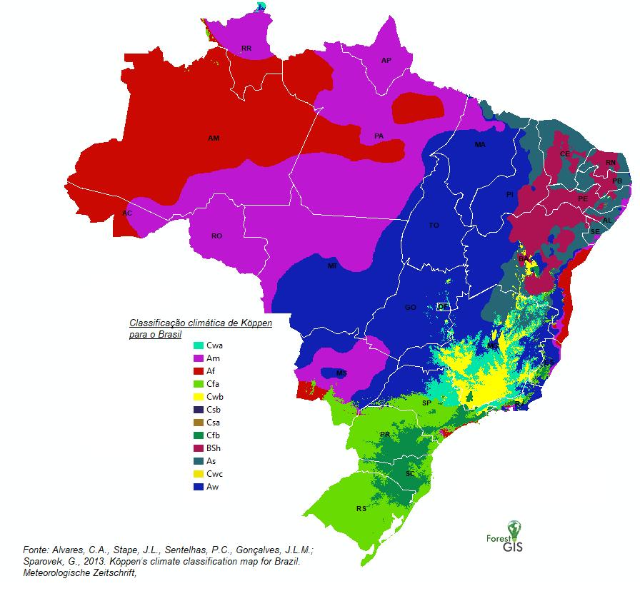 Köppen's climate classification map for Brazil