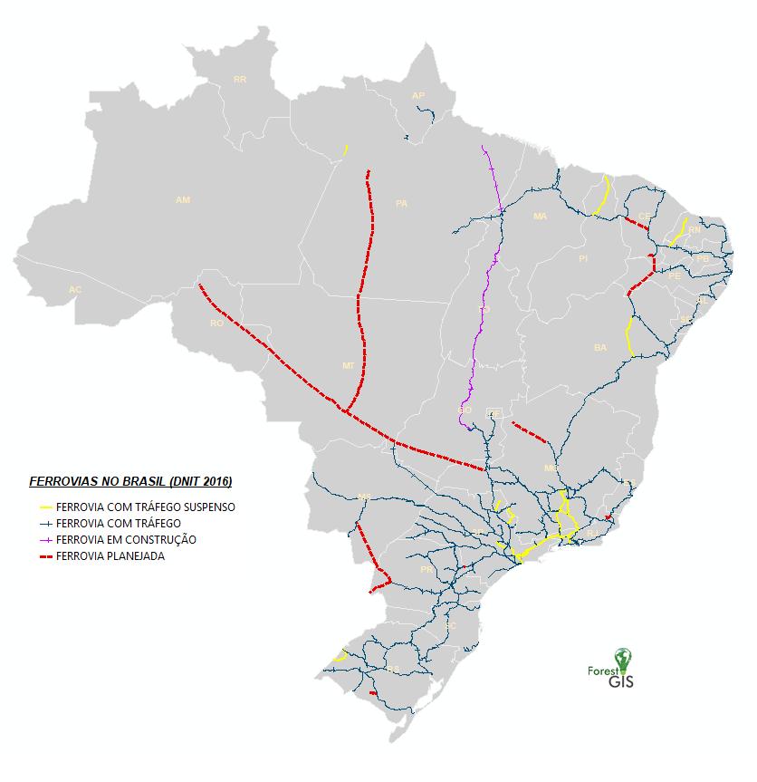 Ferrovias do Brasil (DNIT 2016)