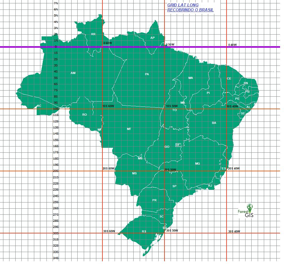 Grade Latitute Longitude recobrindo o Brasil