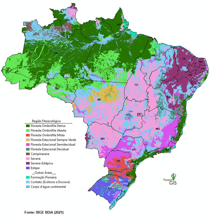 Regiões Fitoecológicas do Brasil (IBGE BDIA)