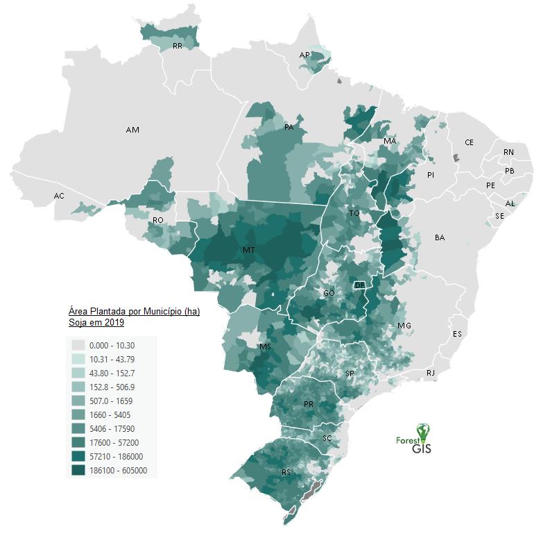Área plantada por Soja em 2019 no Brasil. Fonte: SIDRA/IBGE
