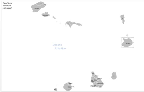 Mapa das Ilhas de Cabo-Verde como Objetos PowerPoint