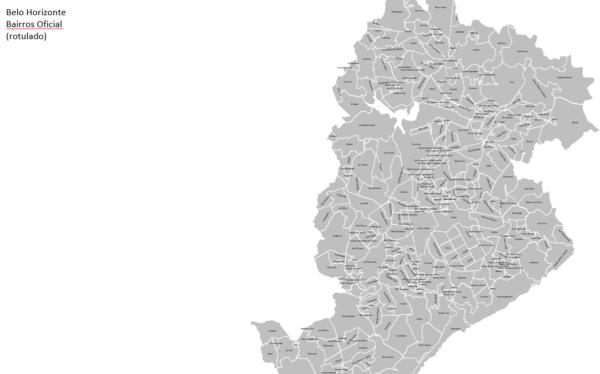 Mapa região metropolitana de Belo Horizonte e Bairros da Capital Mineira