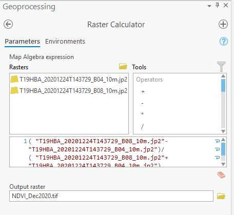 Raster Calculator no ArcGIS PRO, mostrando a álgebra entre bandas necessário para gerar o raster NDVI
